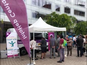 Mobilni InfoHep Centar na Europskom trgu u Zagrebu povodom Svjetskog dana masne jetre